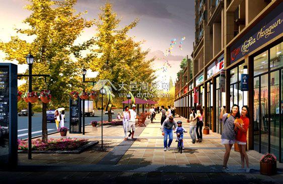 沿街商业街效果图-一年四景 领略润洲 华府3D生态家园景观设计